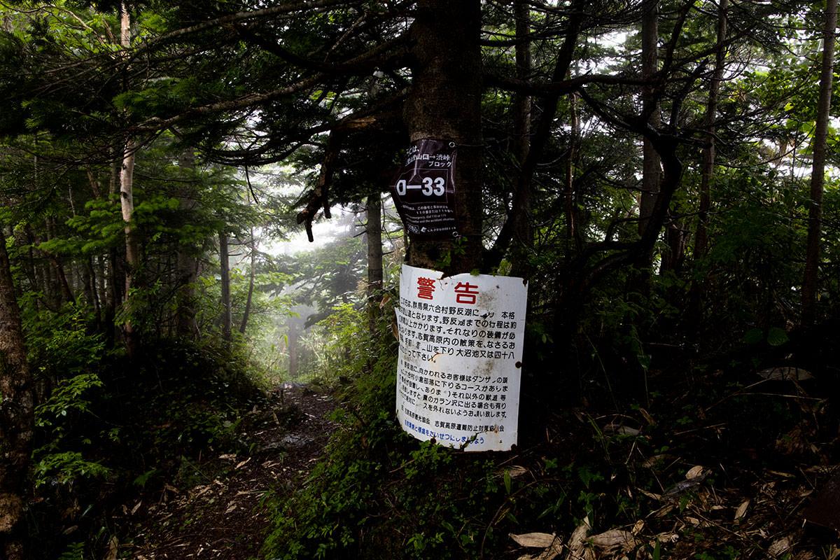 志賀高原赤石山-そのまま進んだら野反湖