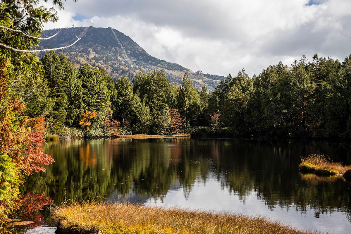 渋池で横手山を見る