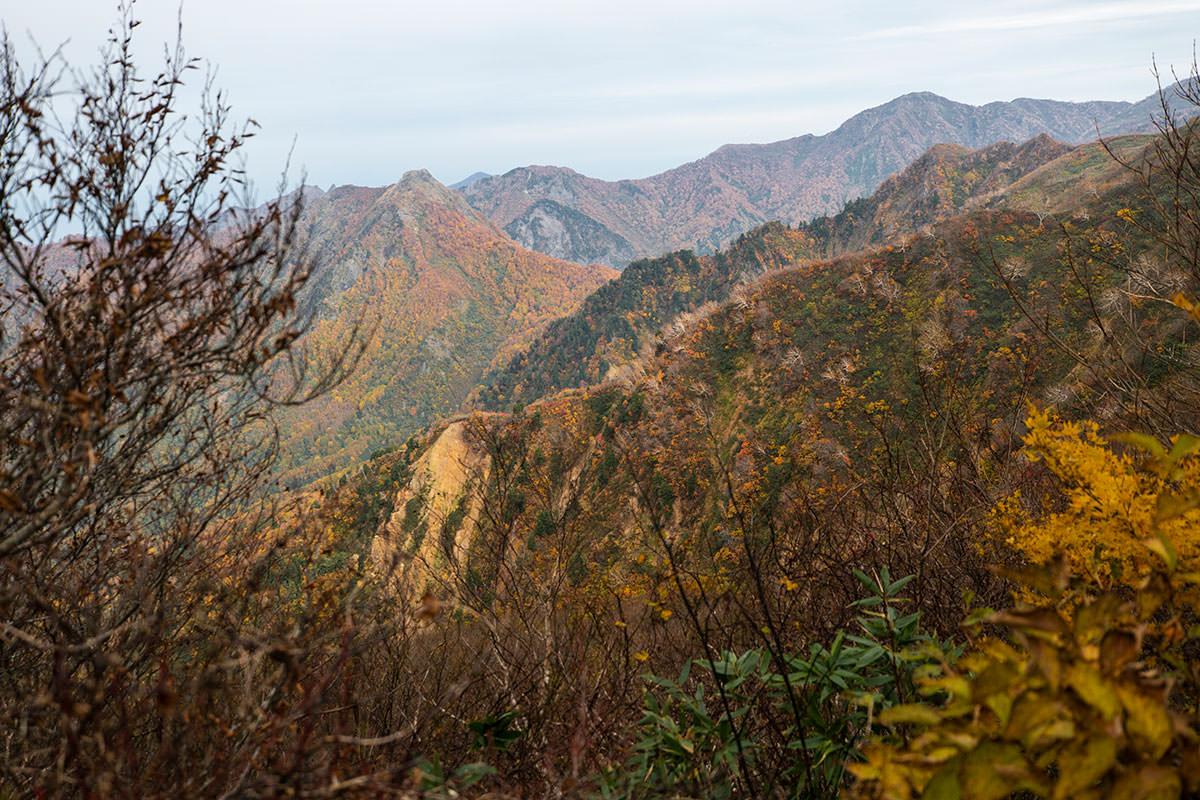 谷の向こうの山肌も気になる色