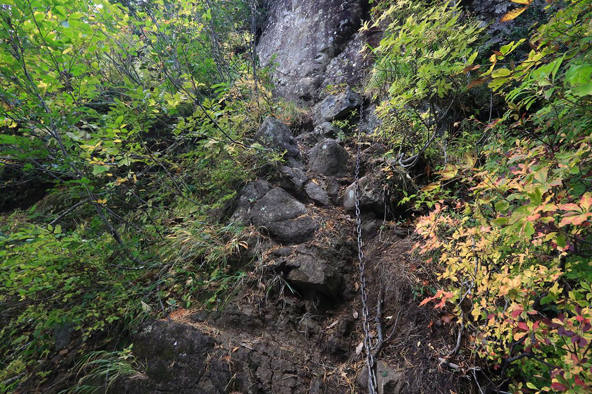 【荒沢岳】登山百景-横移動の鎖