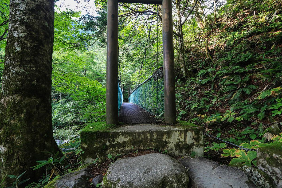 【蝶ヶ岳】登山百景-揺れる吊り橋