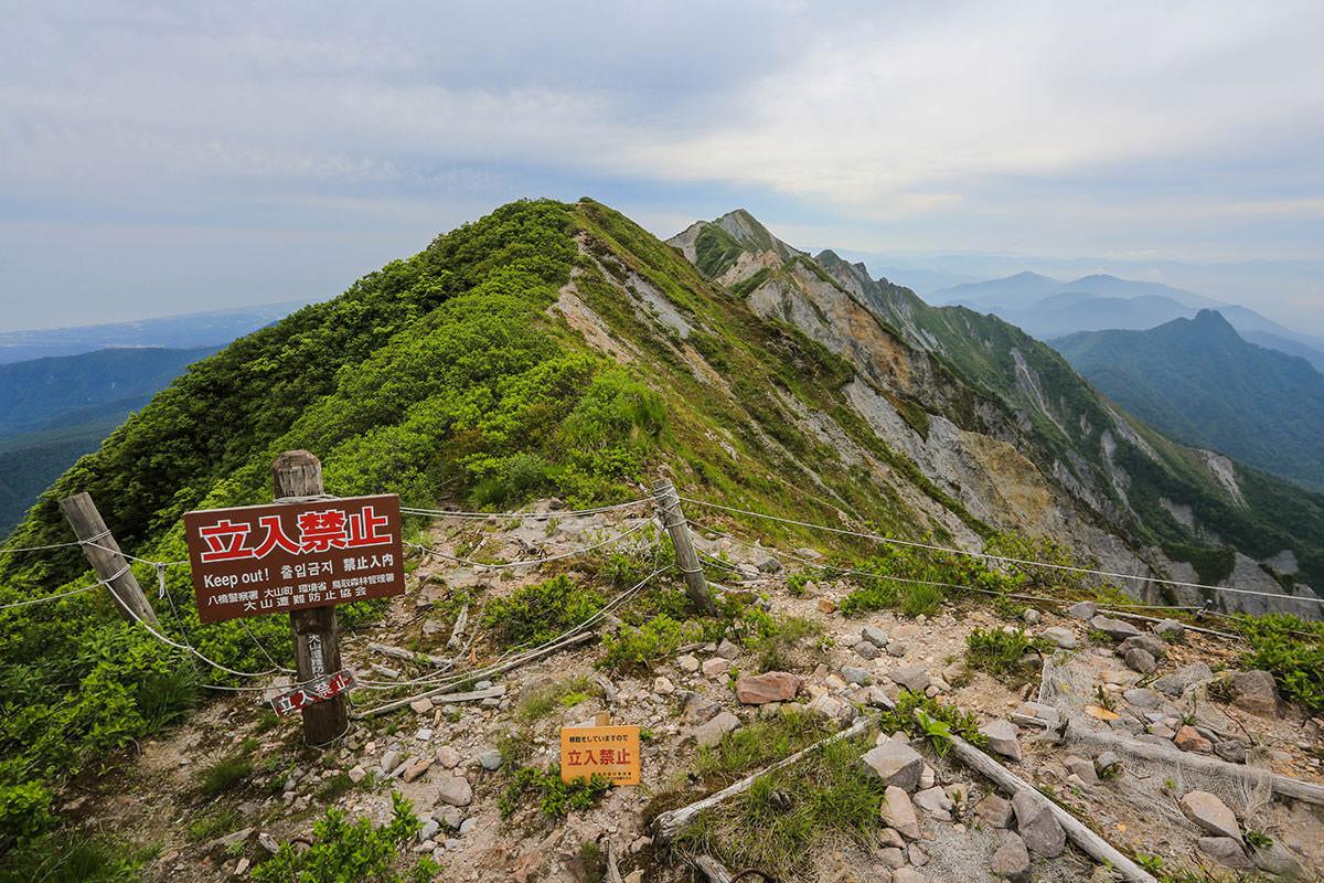 【大山 夏山登山道】登山百景-稜線の先には剣ヶ峰