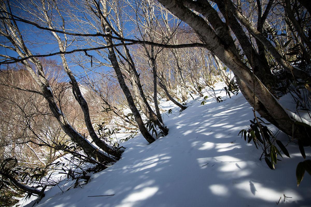 高妻山-日影の急登はさらさらして登りづらい