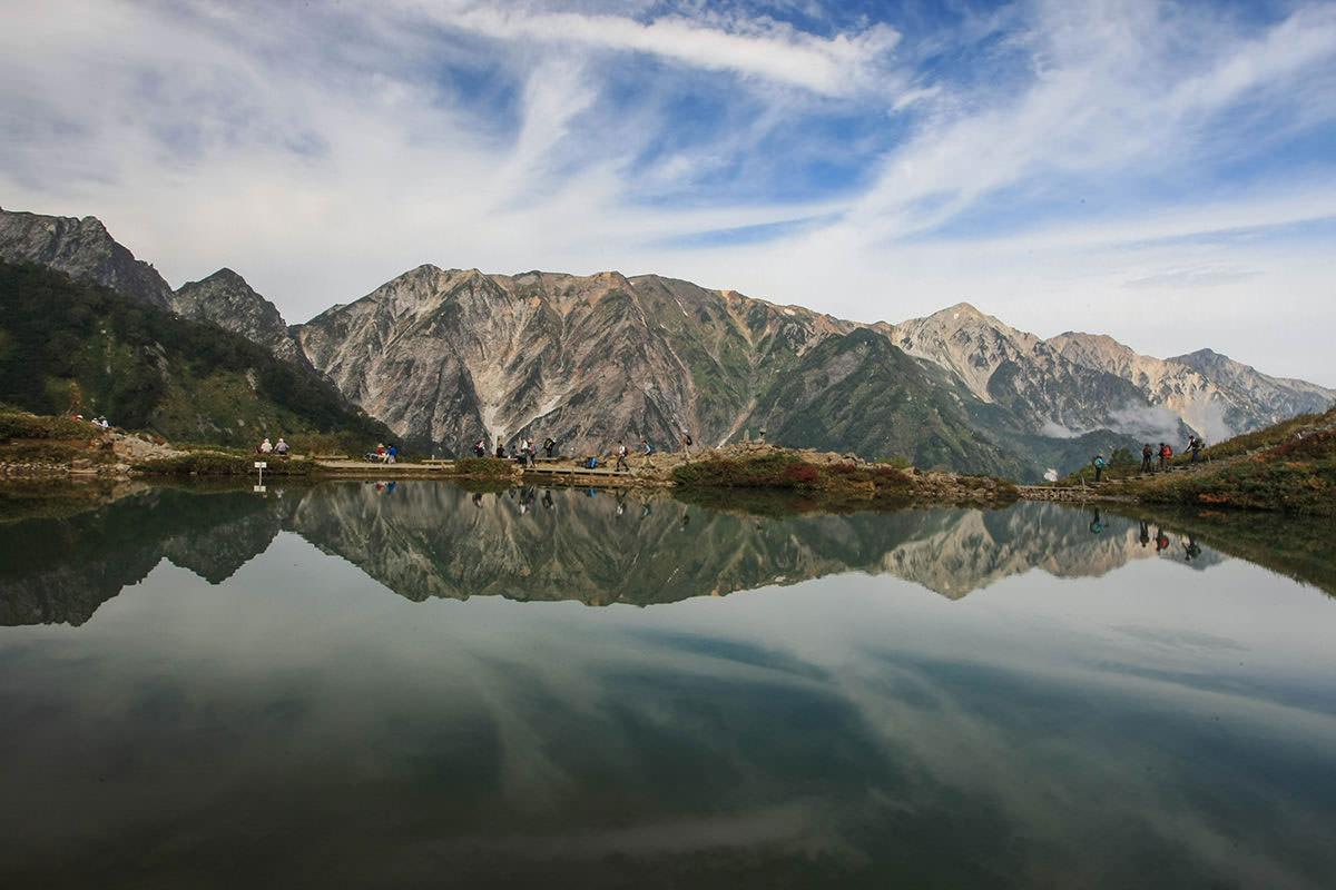>よく見る八方池の写真