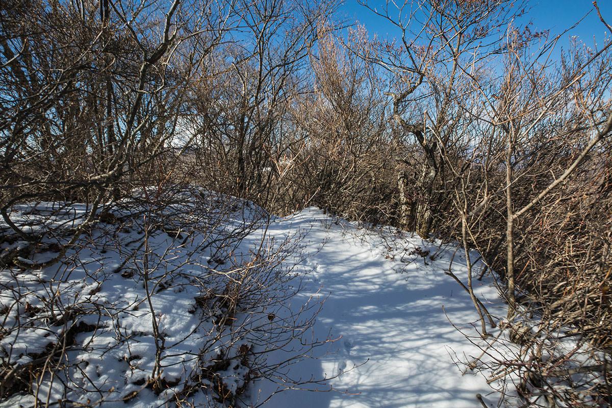 【鼻曲山】登山百景-獅子岩の上は狭い