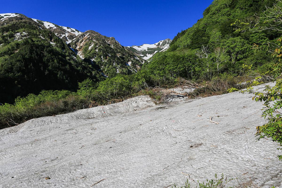 【針ノ木岳】登山百景-小さな雪渓がいくつか