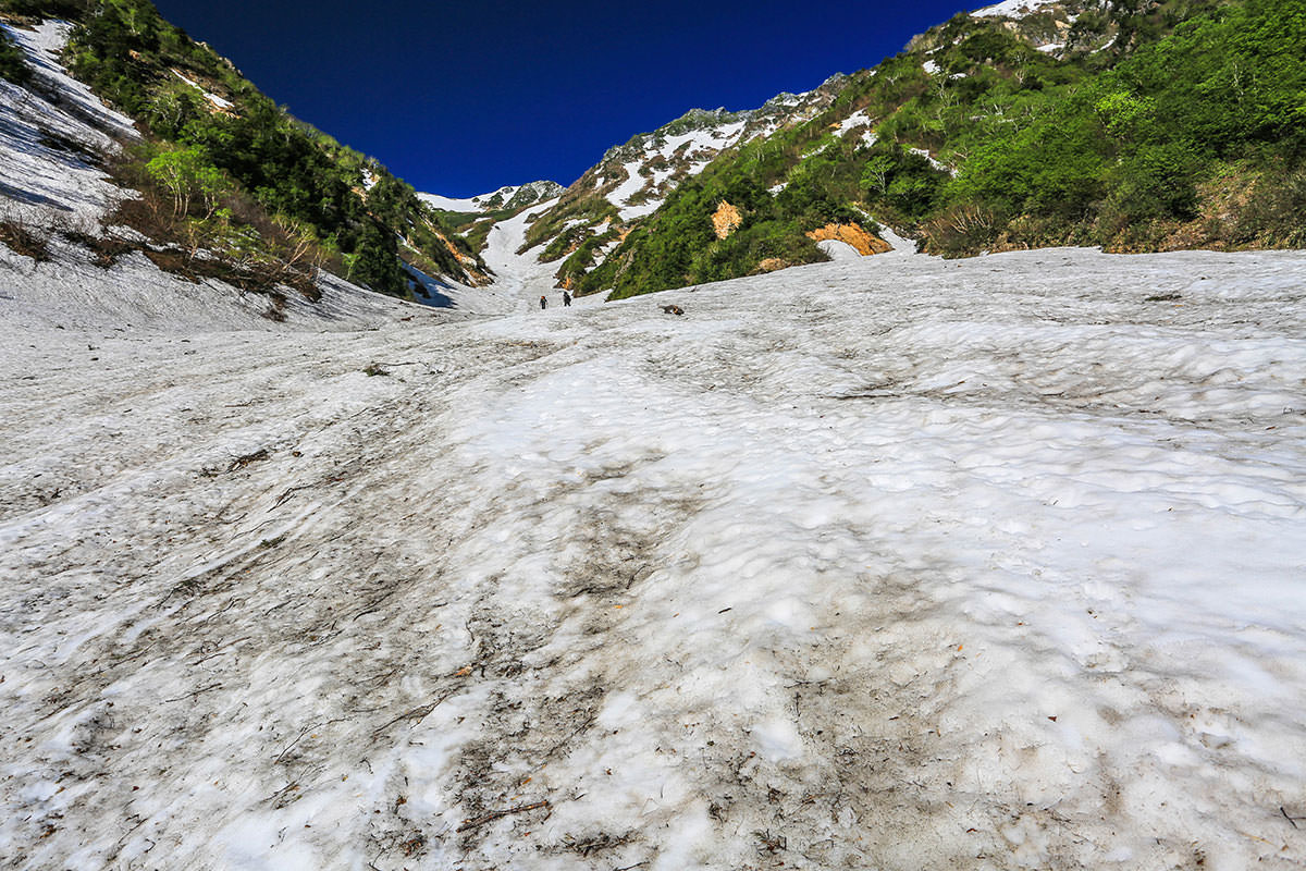 【針ノ木岳】登山百景-まだまだ雪渓は続く