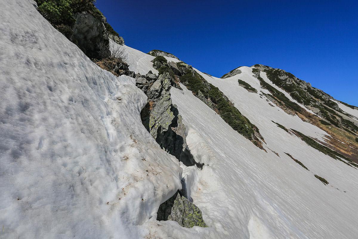 【針ノ木岳】登山百景-ところどころ穴が空いてる