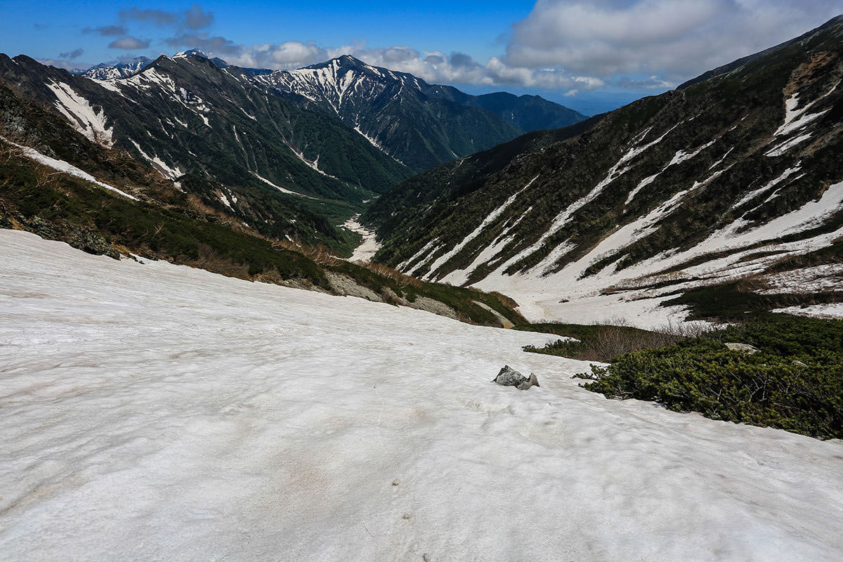 【針ノ木岳】登山百景-こっちの斜面もかなり急