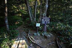 岳沢への登山口