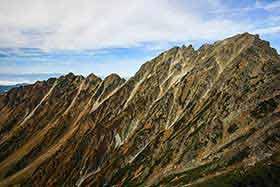 西穂高岳の稜線と奥穂高岳