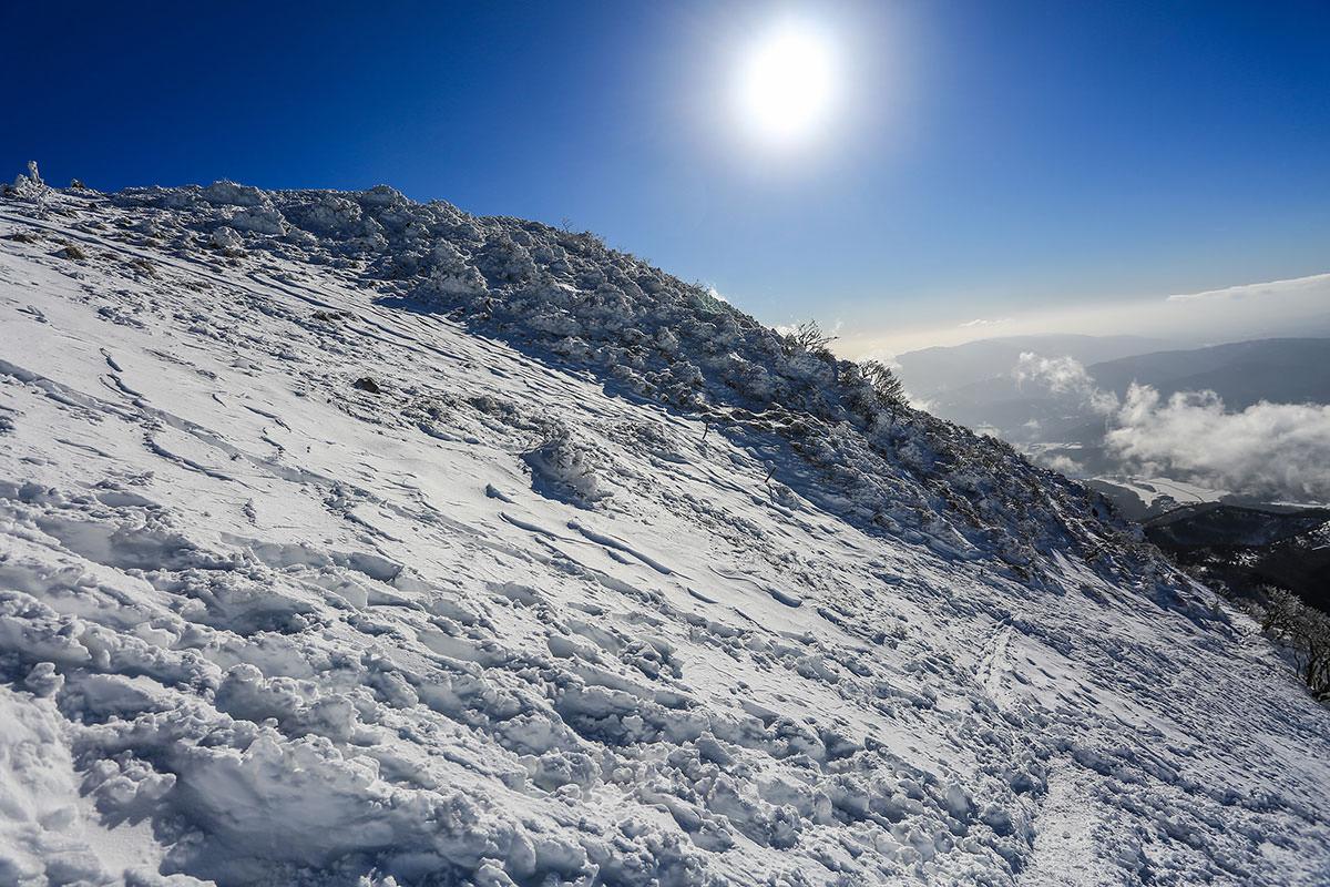 【伊吹山】登山百景-青空に雪が映える