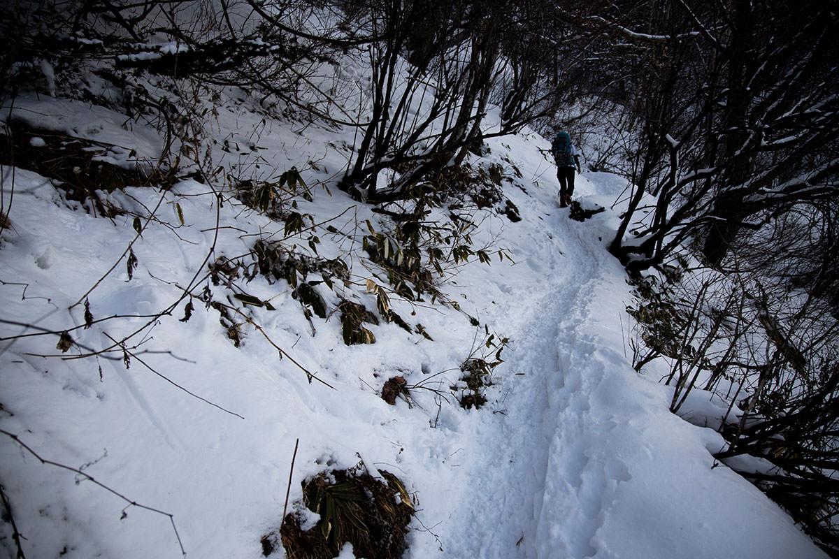 急な斜面を折り返して登る登山道