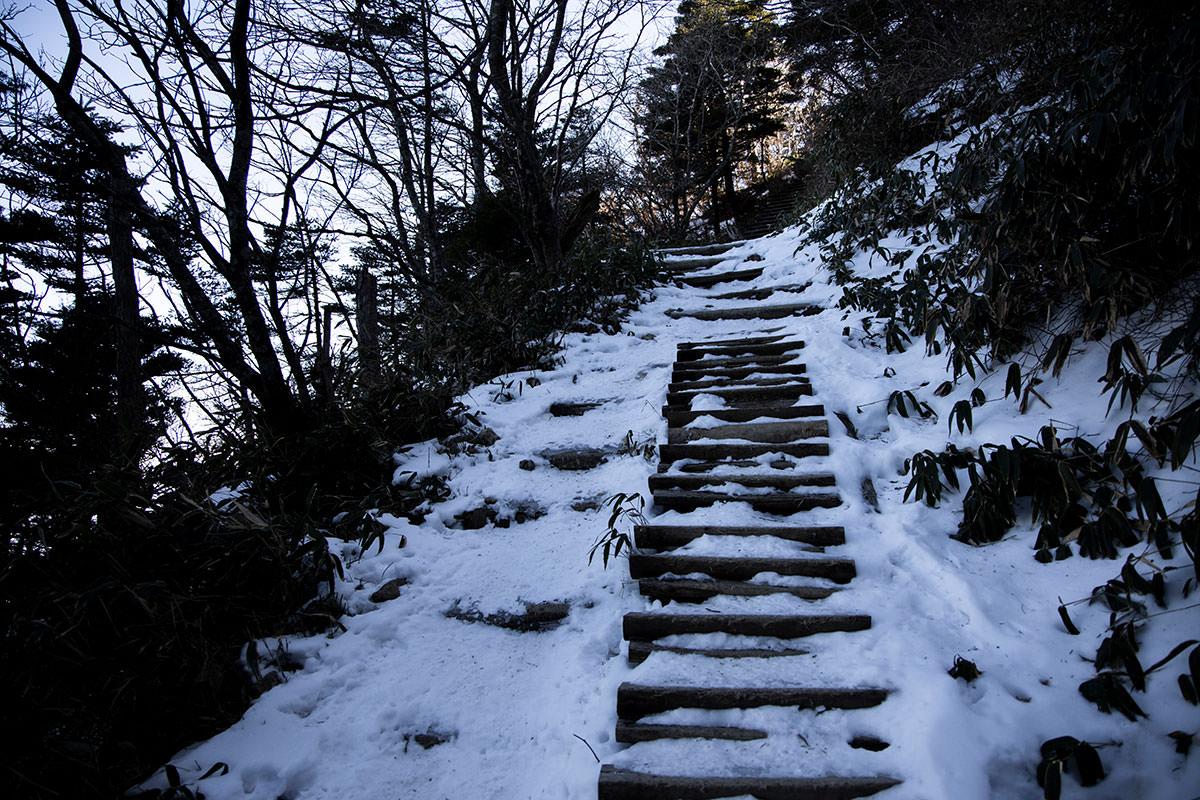 階段は踏面が凍っていたり