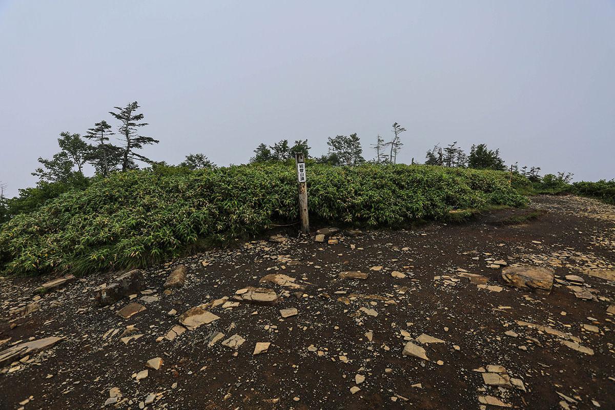 【岩菅山 聖平の上】登山百景-山頂の標