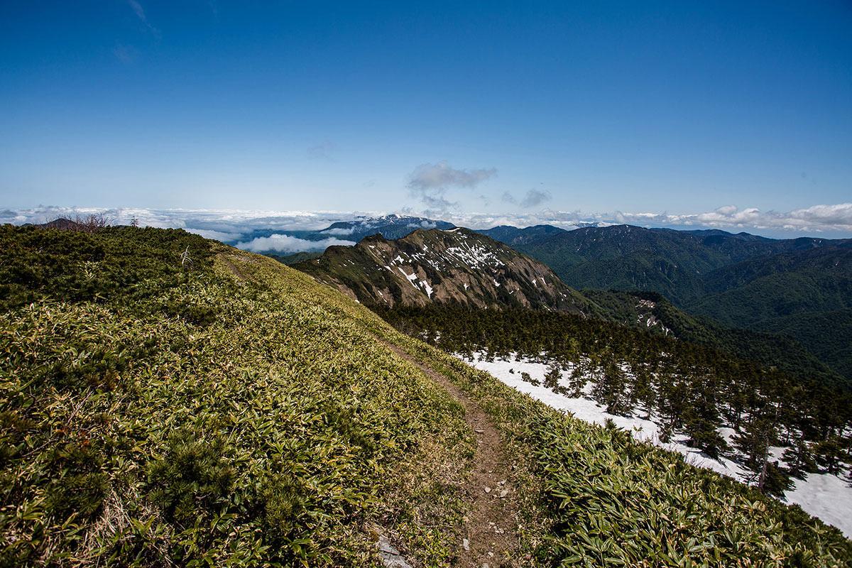 【岩菅山 裏岩菅山縦走】登山百景-烏帽子山へ登山道が続く