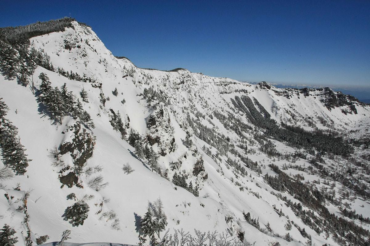 左側の黒斑山から外輪山は続く