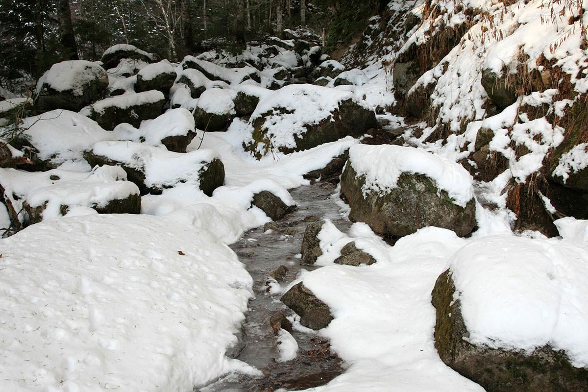 【常念岳】登山百景-氷が張っている