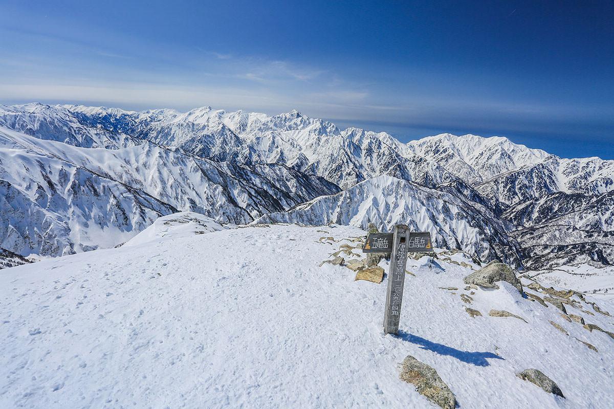 唐松岳は山頂も風が強い