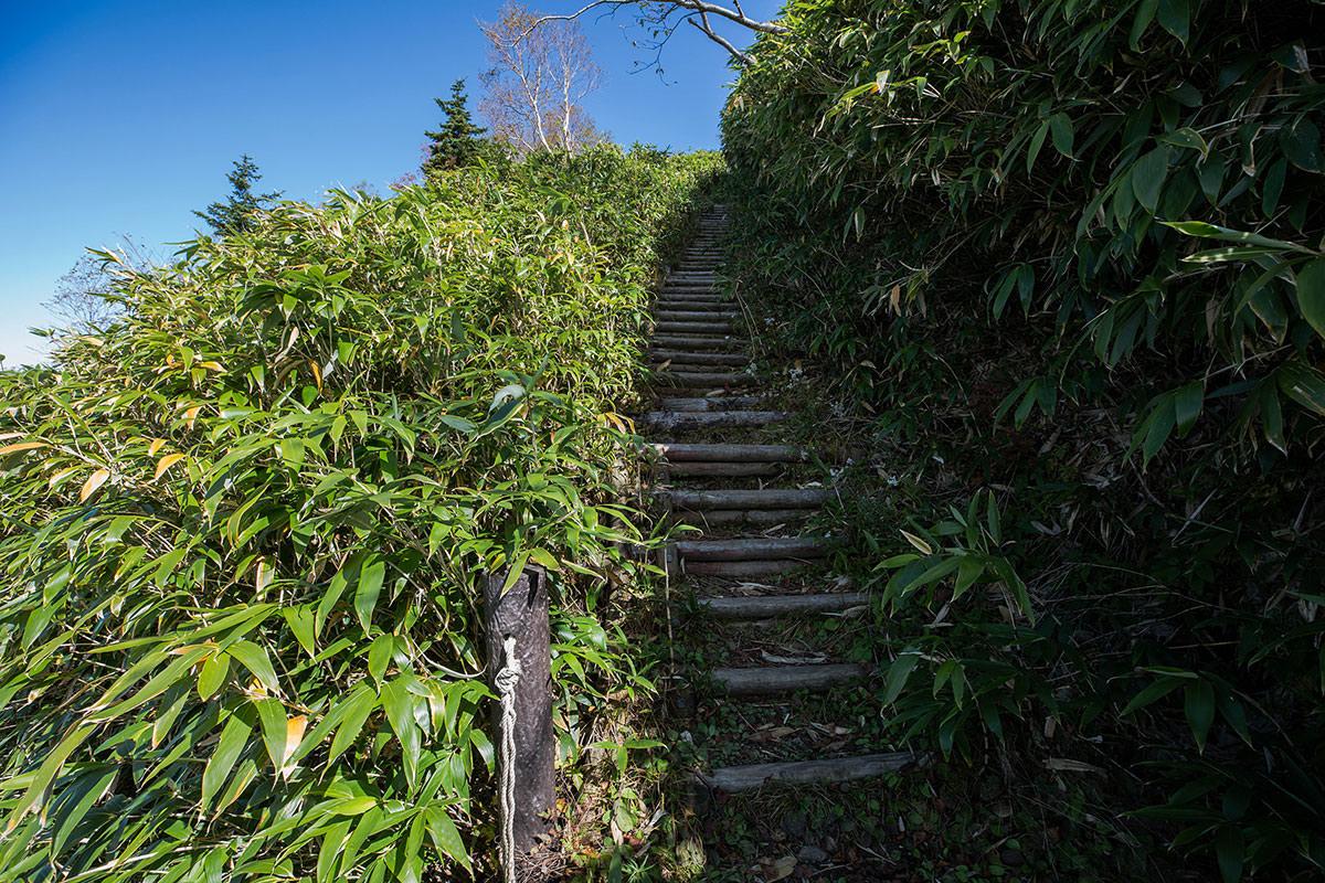 階段を折り返して登る