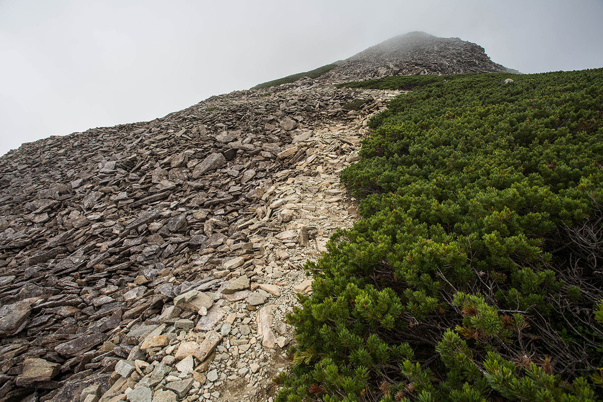 笠ヶ岳の山頂へ