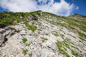 岩の登山道を登っていく
