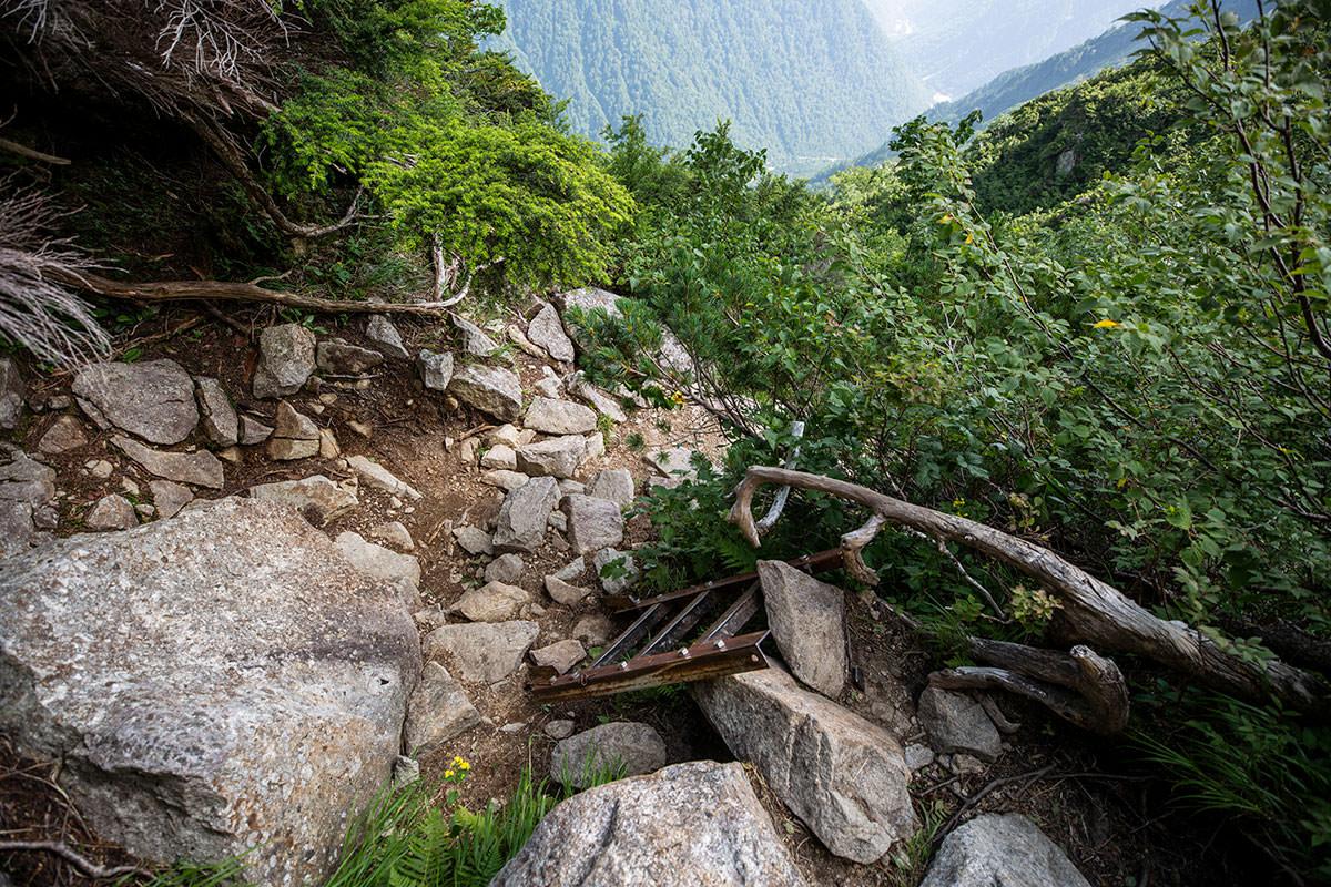 急登を下りながらハシゴもいくつか通っていく