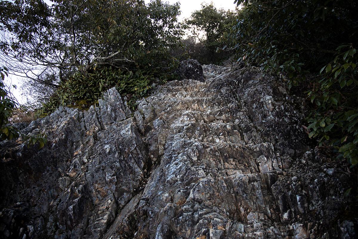 岩の登山道に変わる