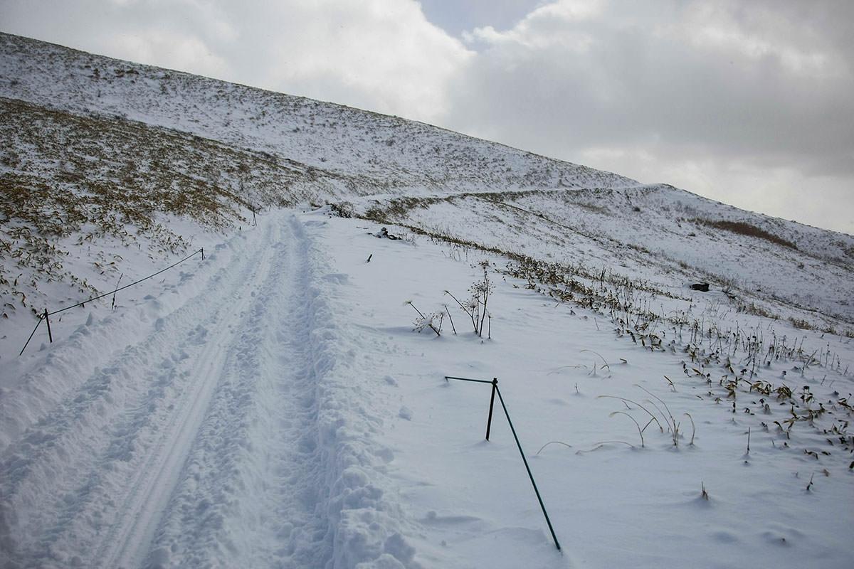 歩くルートは雪が踏まれている