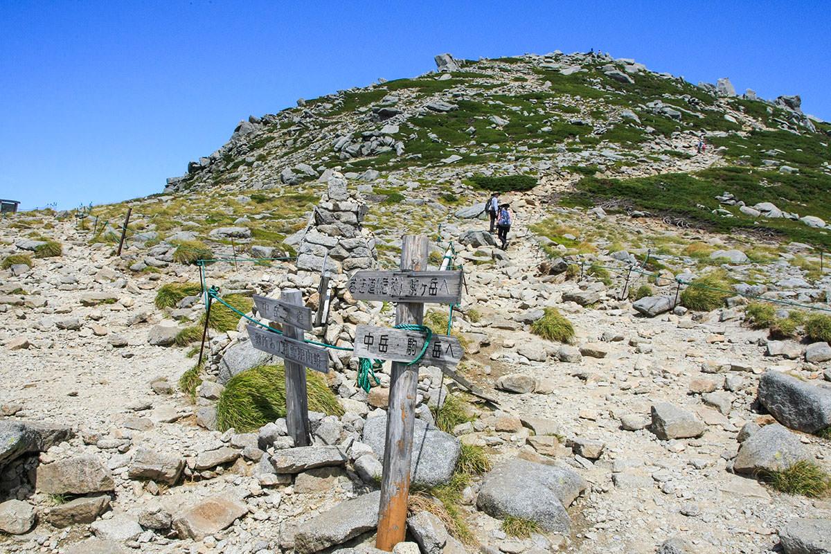 巻き道と山頂の分岐点