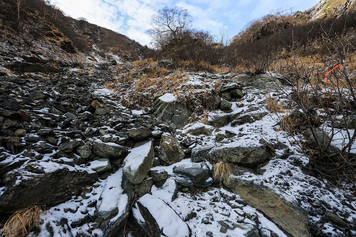 【北岳】登山百景-だんだん雪