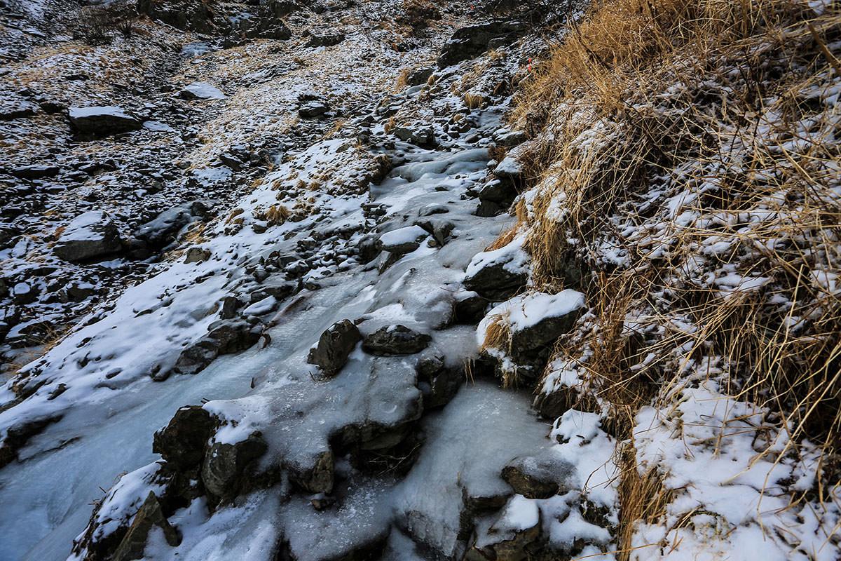 【北岳】登山百景-沢が氷