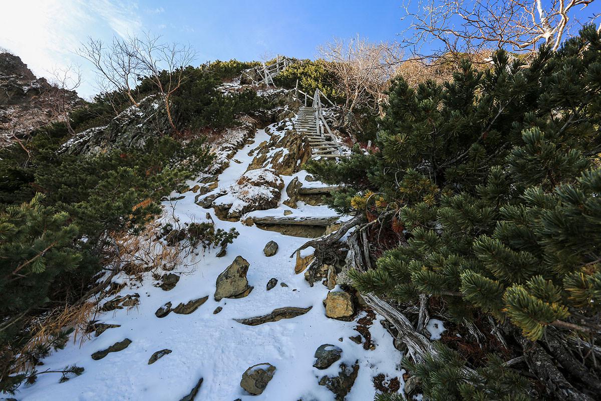 【北岳】登山百景-稜線まで階段