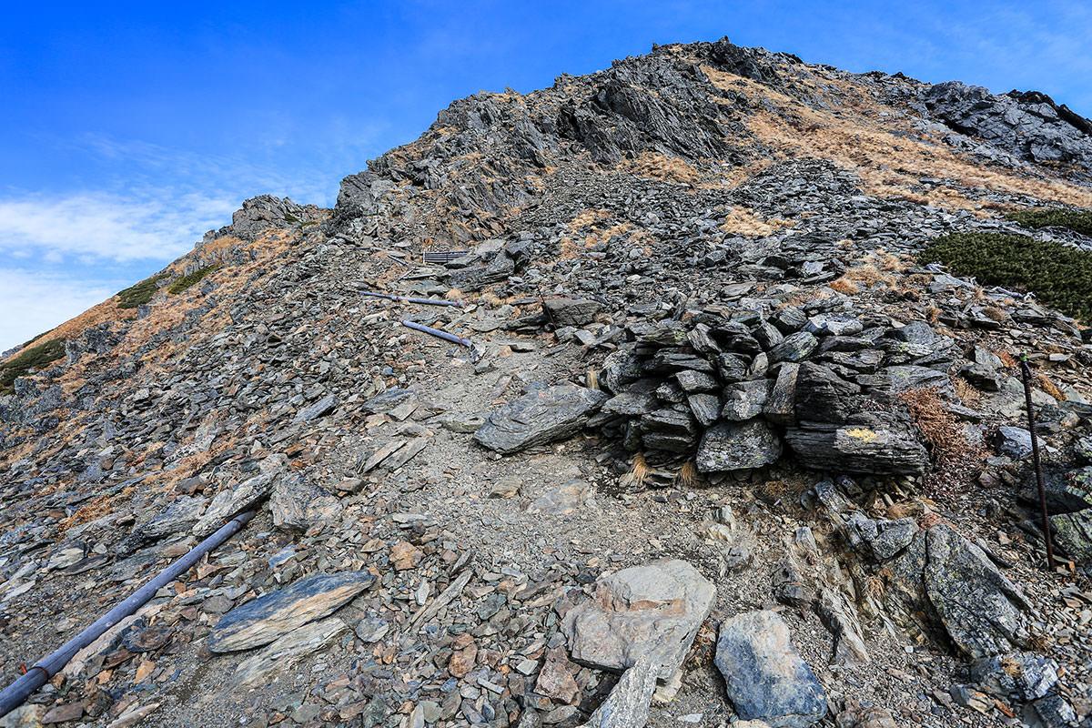 【北岳】登山百景-まばらな木段
