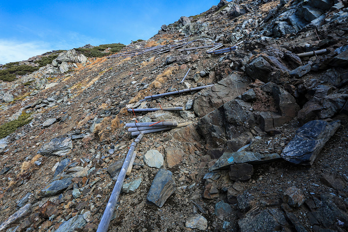 【北岳】登山百景-木段を登ってく