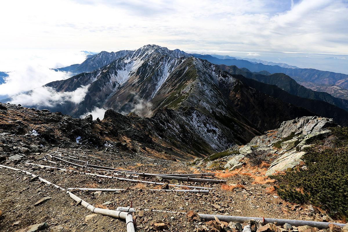 【北岳】登山百景-振り返って間ノ岳