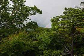 雨飾山や火打山が見える方向
