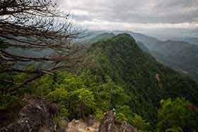 山頂部から稜線を戻る