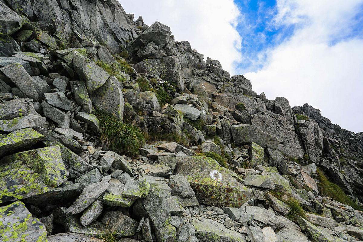 【前穂高岳】登山百景-前穂山頂へ岩
