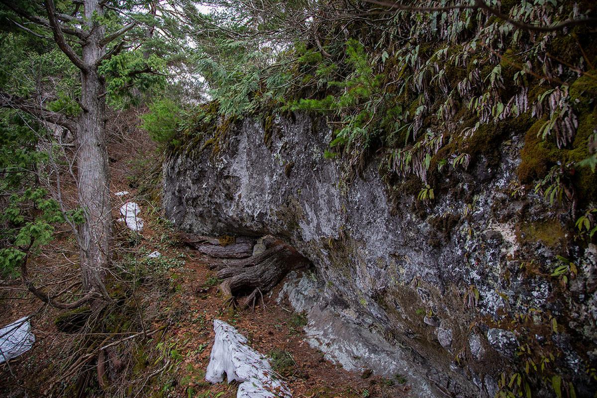 【万仏山】登山百景-蟻の戸渡りの下に窓岩