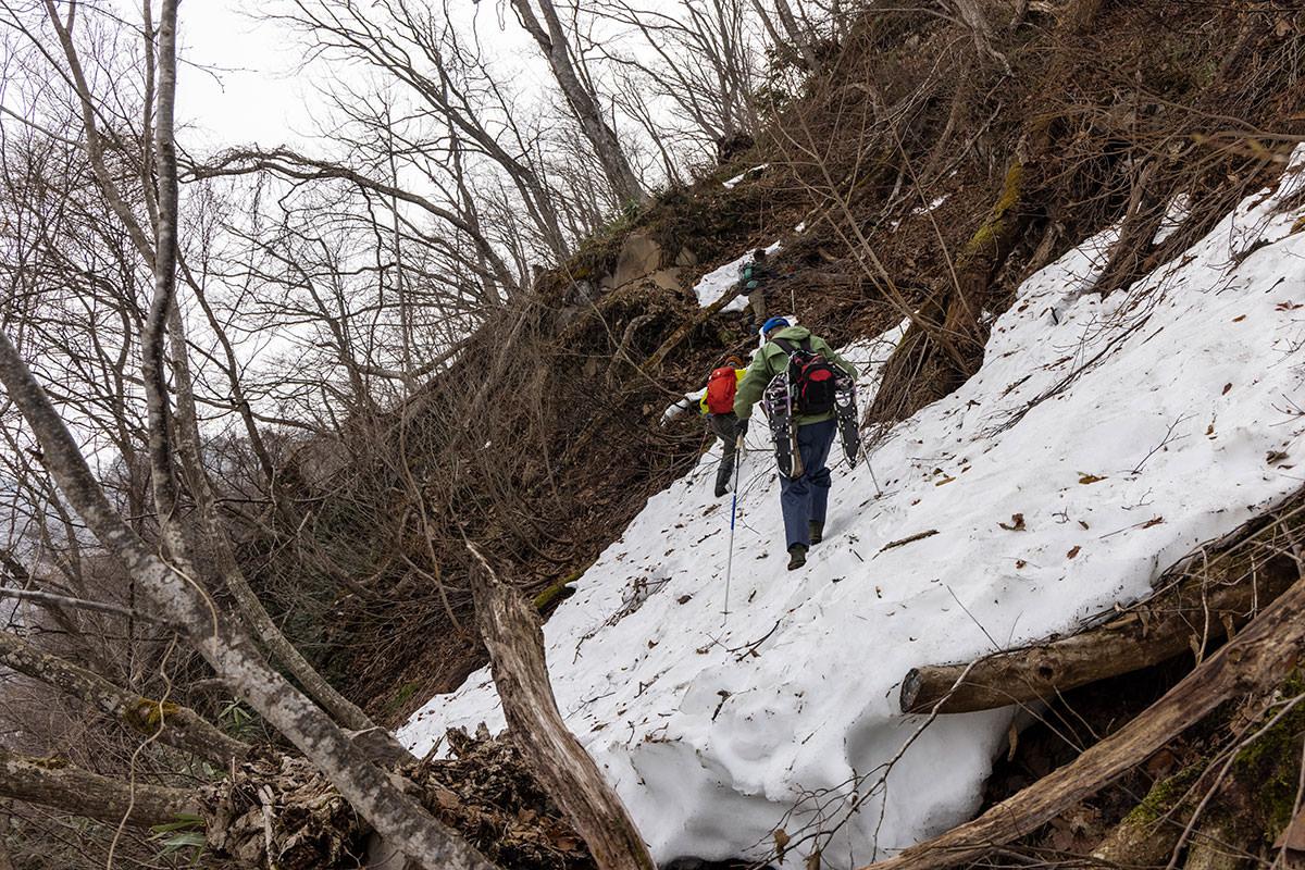 万仏山-固くなった雪面をトラバース