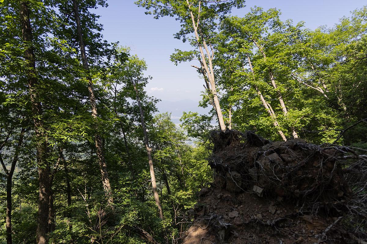万仏山-木々が開けてチラッと景色が見える