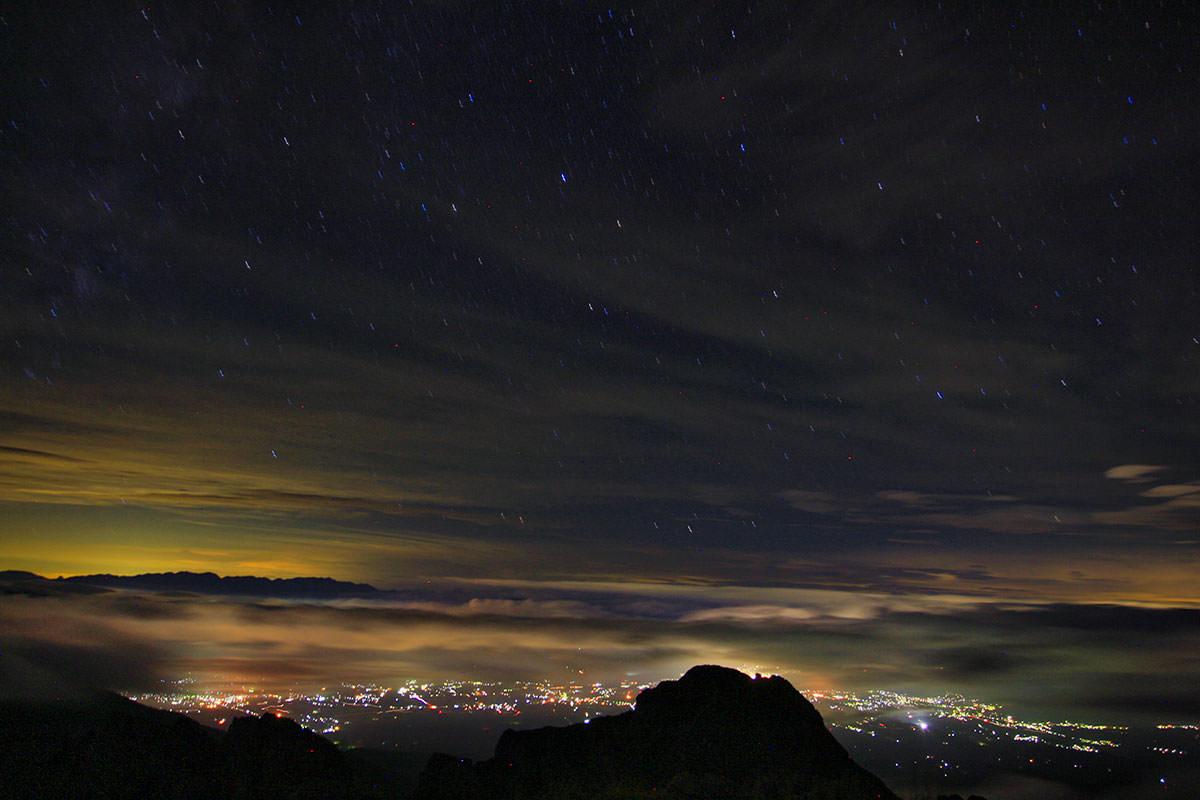 夜の山頂から茅野市街