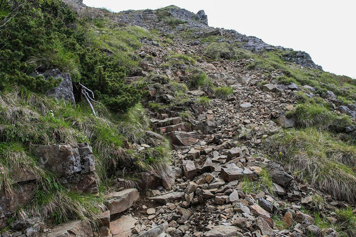 【南八ヶ岳 南北縦走】登山百景-勾配のあるザレ場