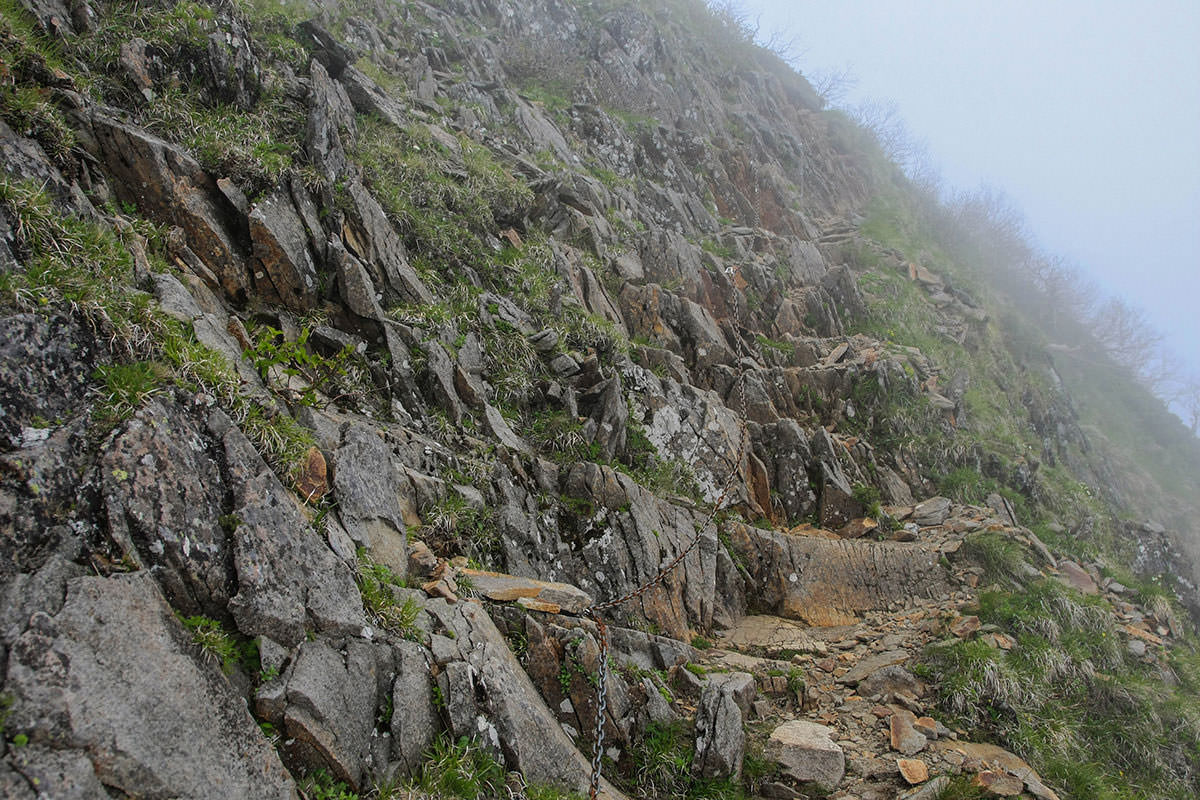 【南八ヶ岳 南北縦走】登山百景-こ左は岩壁、右は崖