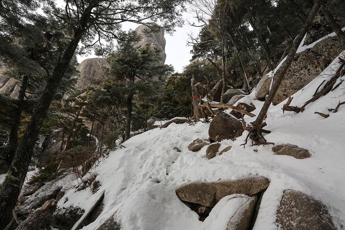 大ヤスリ岩の横を登っていく