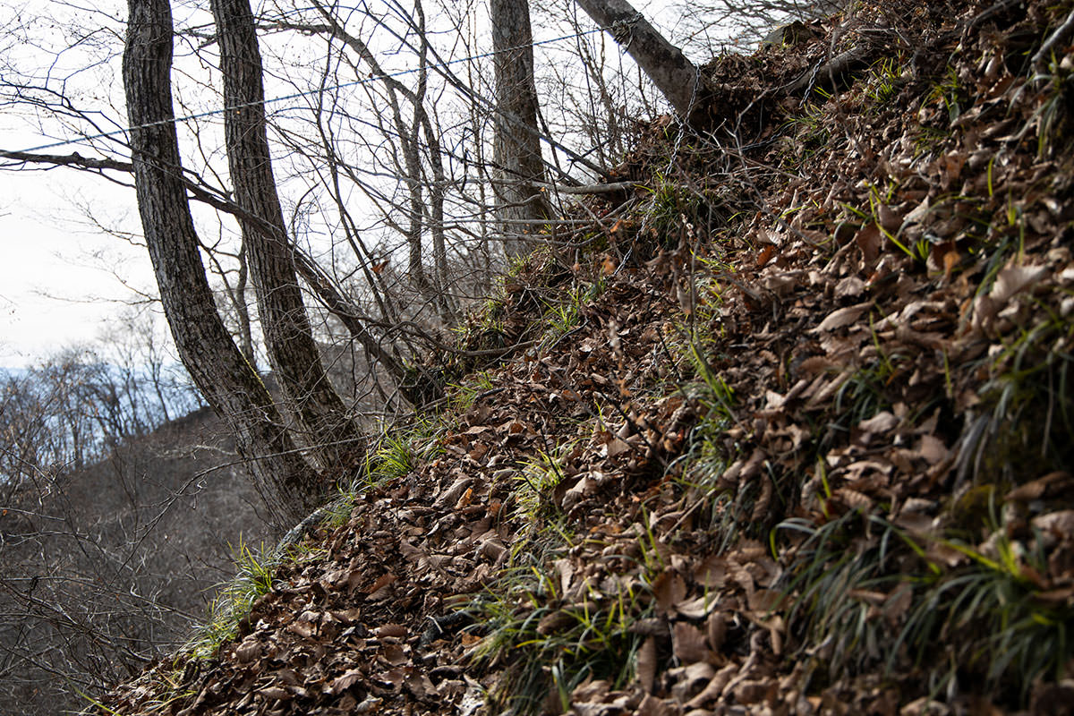 足元は狭いし谷側は深い