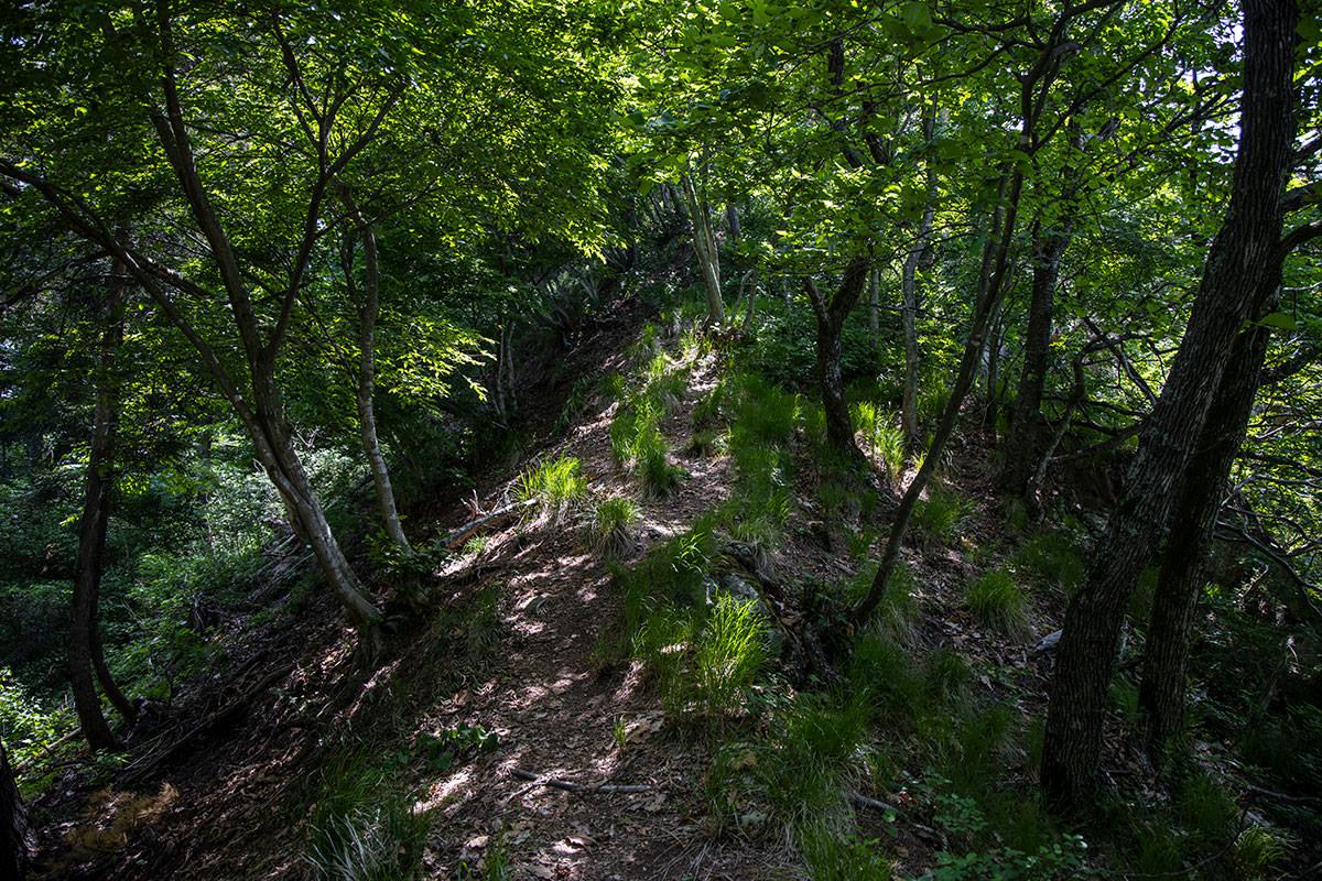 古城跡を過ぎたら急斜面