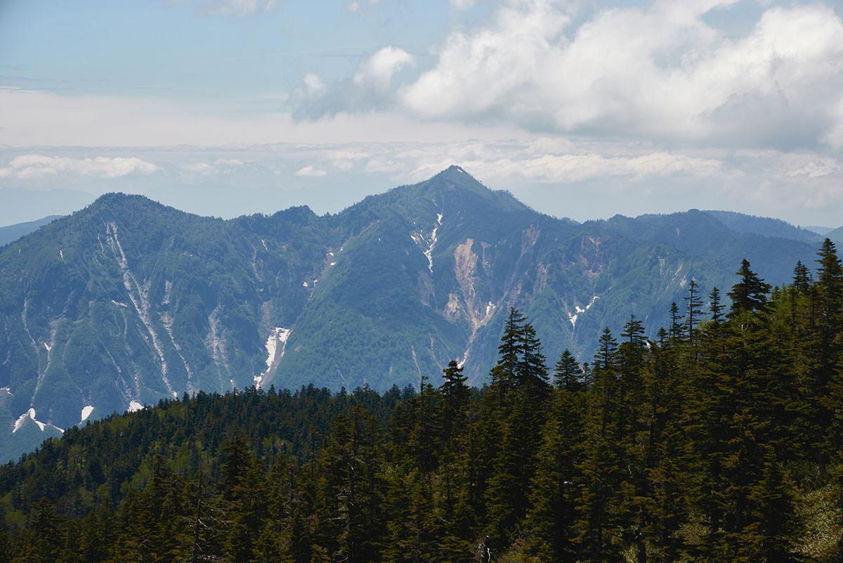 苗場山-鳥甲山は翼を広げた鳥のような形