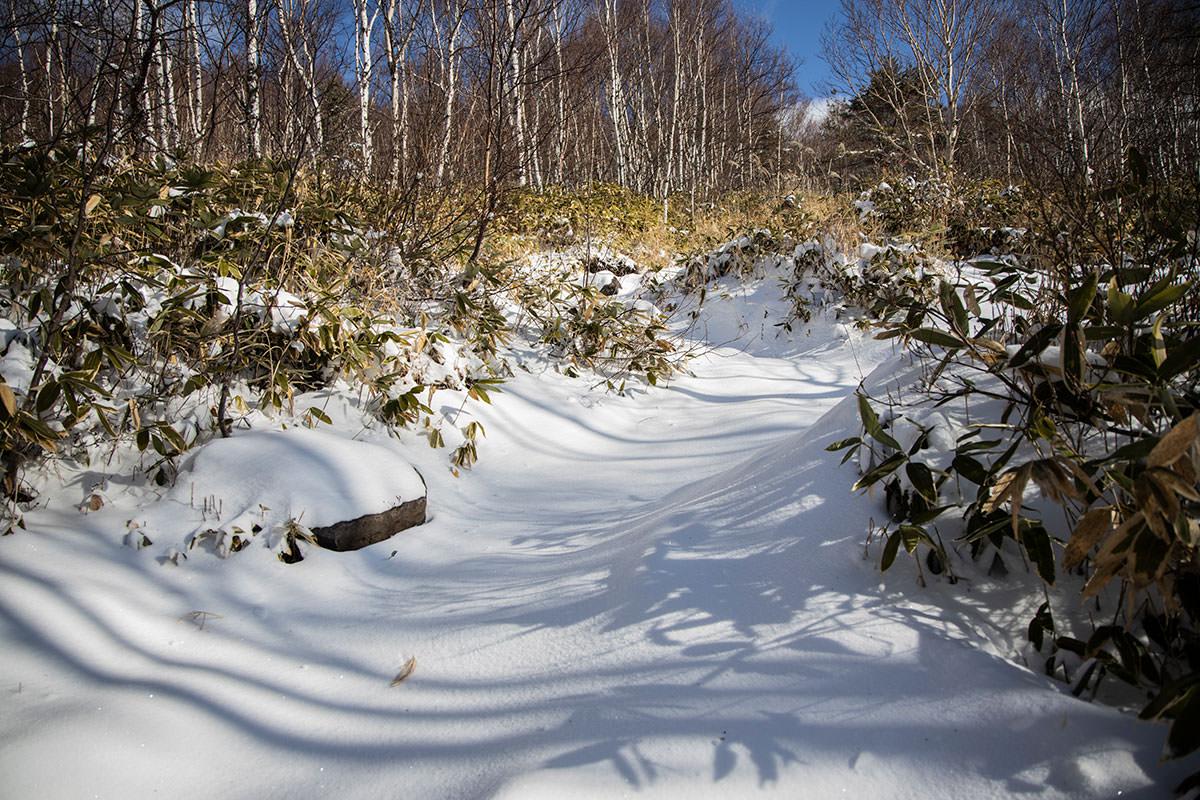 根子岳-平坦に進んだ後は斜面が急になる